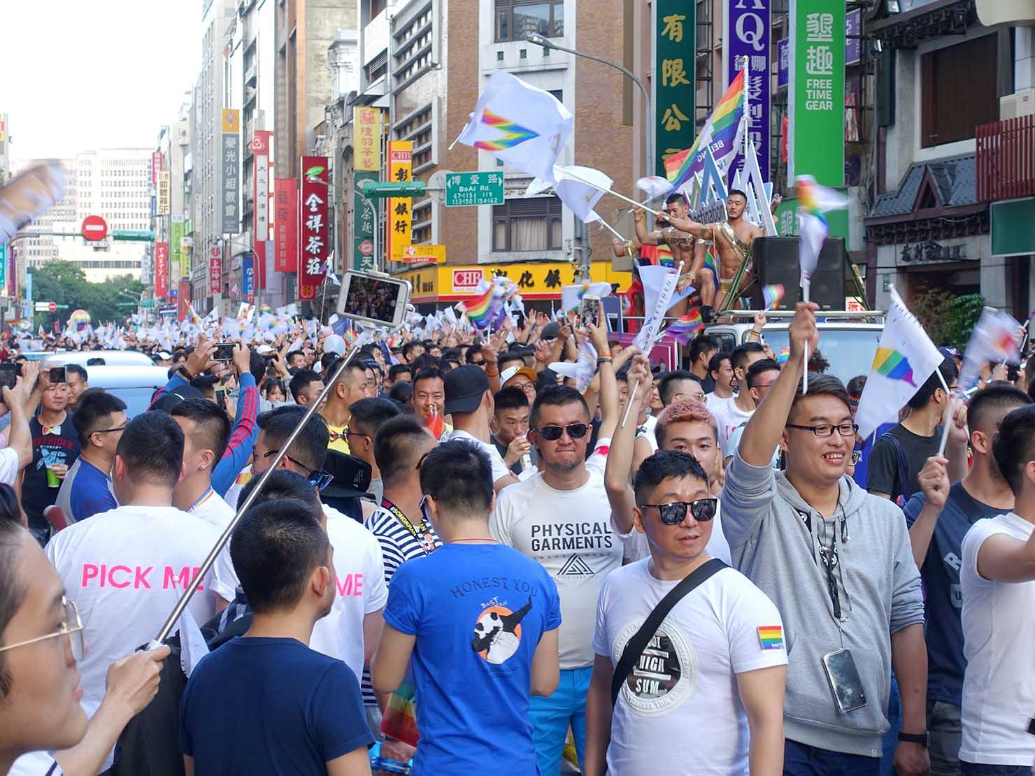 台灣同志遊行(台湾LGBTプライド)2018で盛り上がる参加者たち