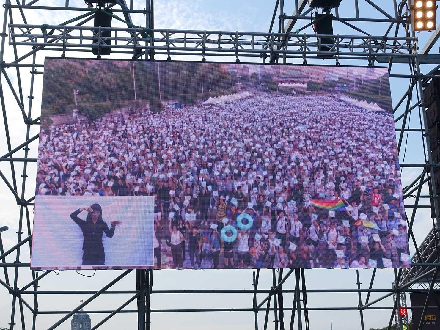 台湾のLGBT音楽イベント『為愛返家音樂會』会場での空中撮影