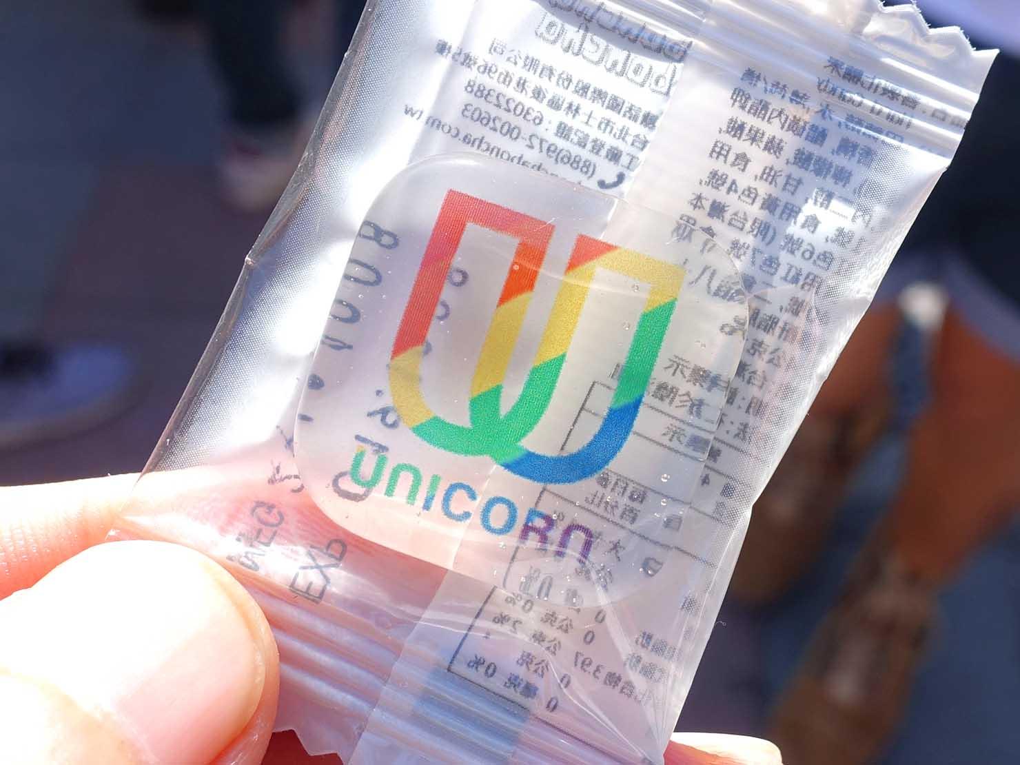 台北市國際彩虹文化祭にブース出展する台湾のメンズコスメブランド「UNICORN」のキャンディ