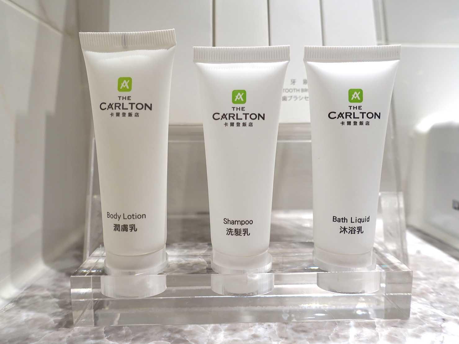 台中のおすすめホテル「卡爾登飯店 The Carlton」デラックスダブルルームのアメニティ