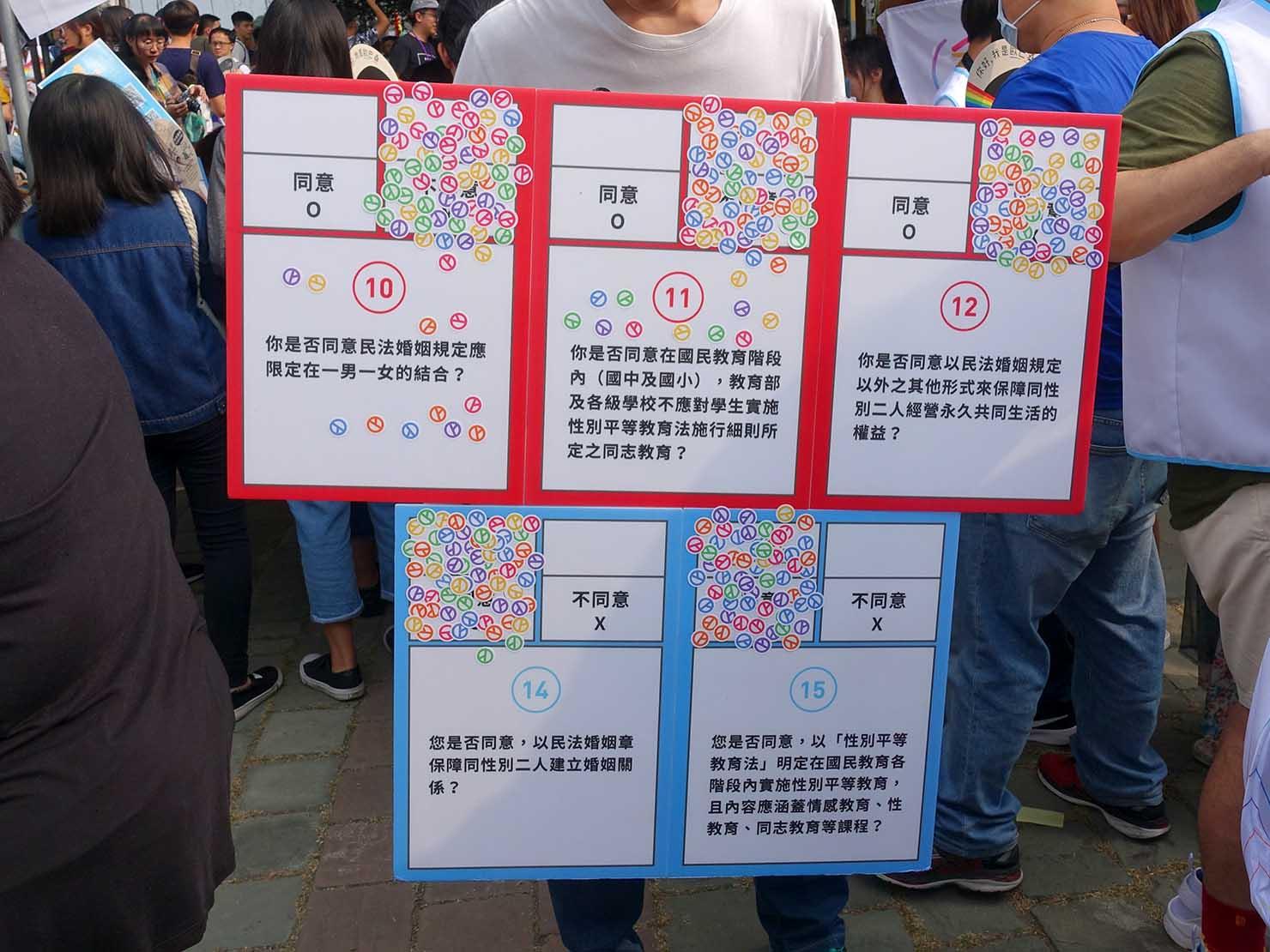 台中同志遊行(台中LGBTプライド)2018会場の国民投票に関するボード