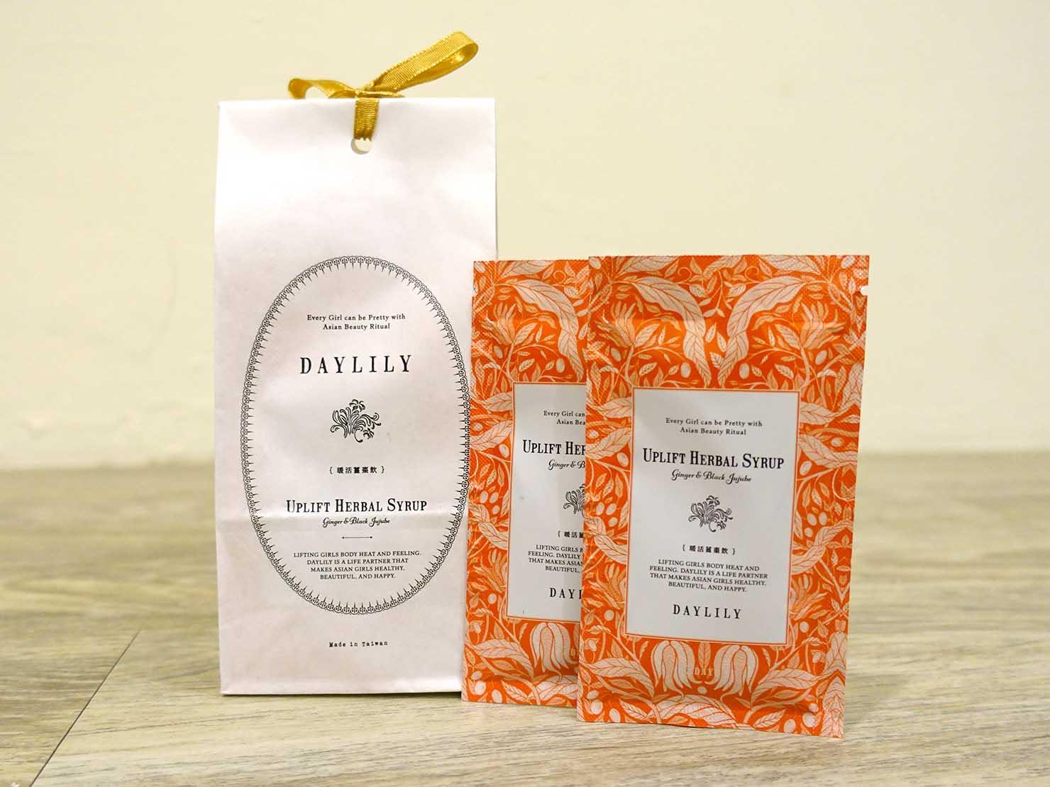 台北おみやげにおすすめの漢方ブランド・DAYLILY「暖活薑棗飲」パッケージ