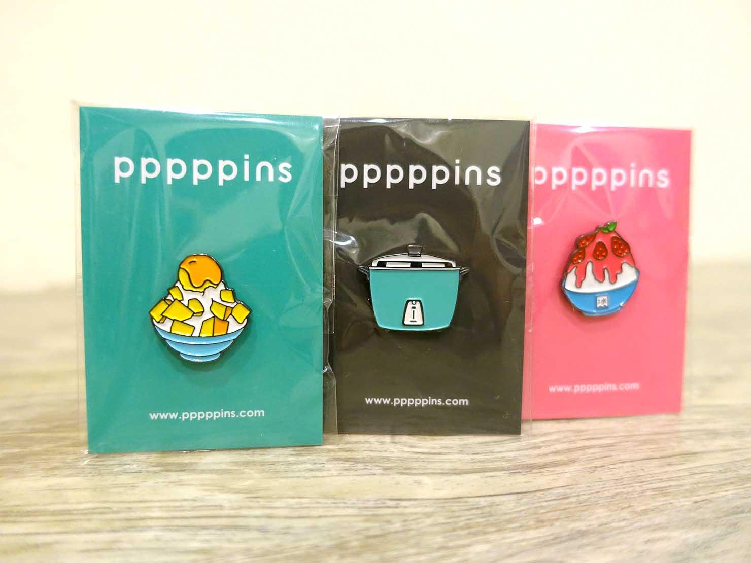 台北おみやげにおすすめのピンバッジブランド・pppppinsのピンバッジたち