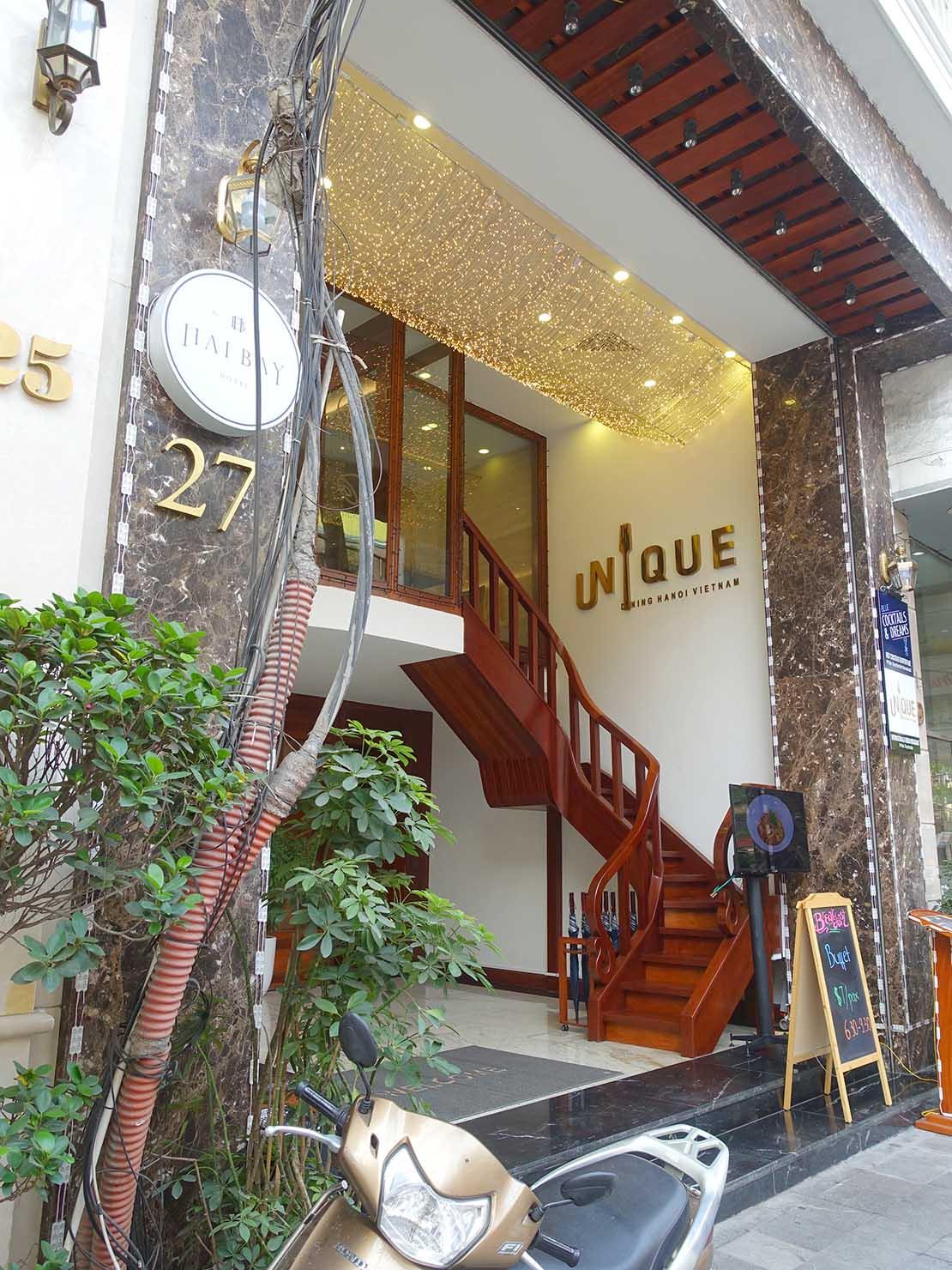 ハノイ旧市街ど真ん中の観光に便利なおすすめホテル「Hai Bay Hotel」の外観