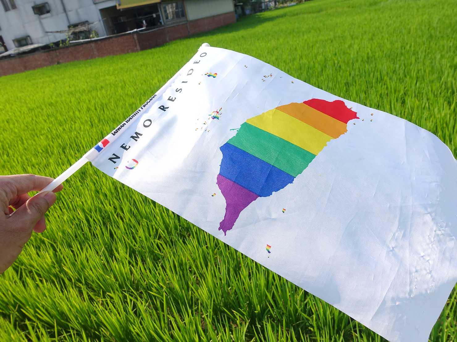 苗栗愛轉來平權遊行(苗栗LGBTプライド)2019で水田にはためくレインボーフラッグ