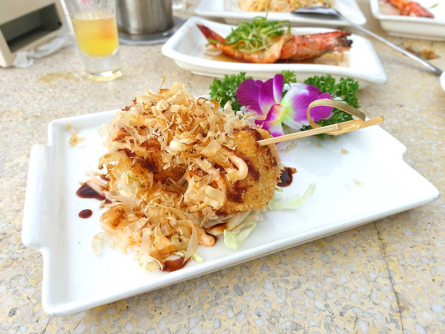 台北・陽明山のレストラン「草山夜未眠」ホタテのフライ