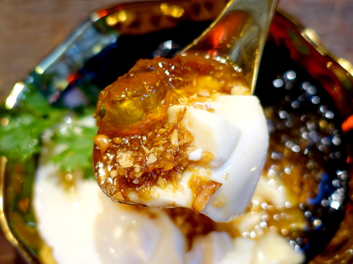 台北・永康街の豆花がいただけるお店「白水豆花」の麥芽糖花生桃膠豆花クローズアップ