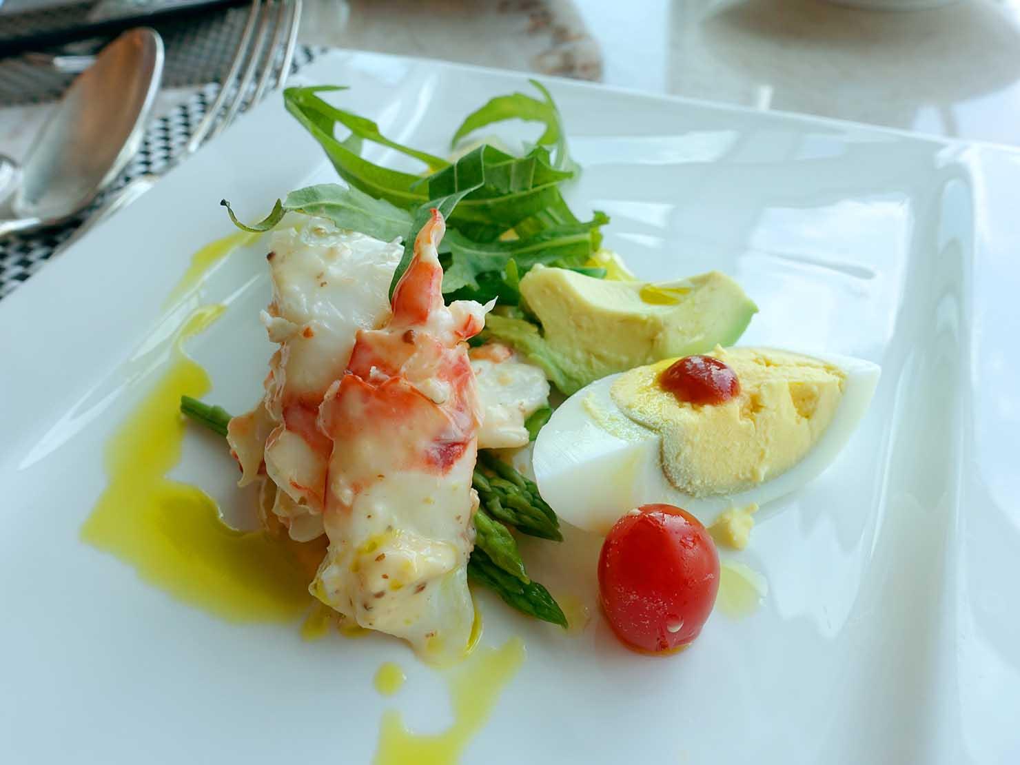 高級レストラン「頂鮮台北101」ランチセットの前菜・鮮美明蝦佐蔬食