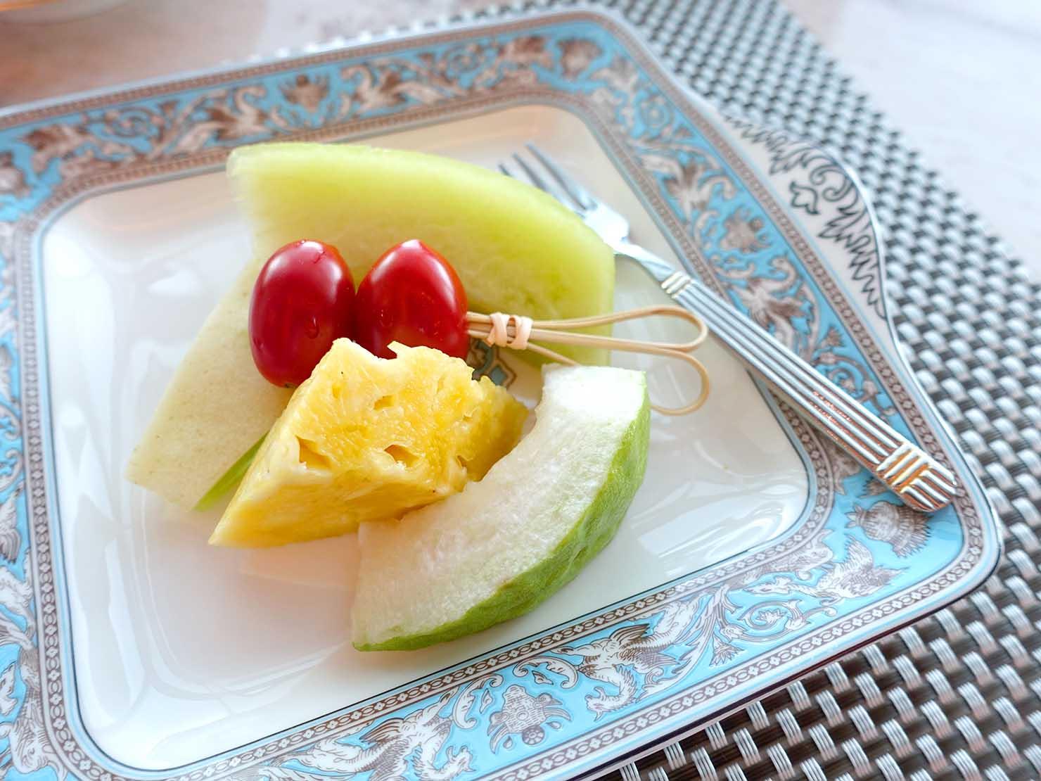 高級レストラン「頂鮮台北101」ランチセットのフルーツ