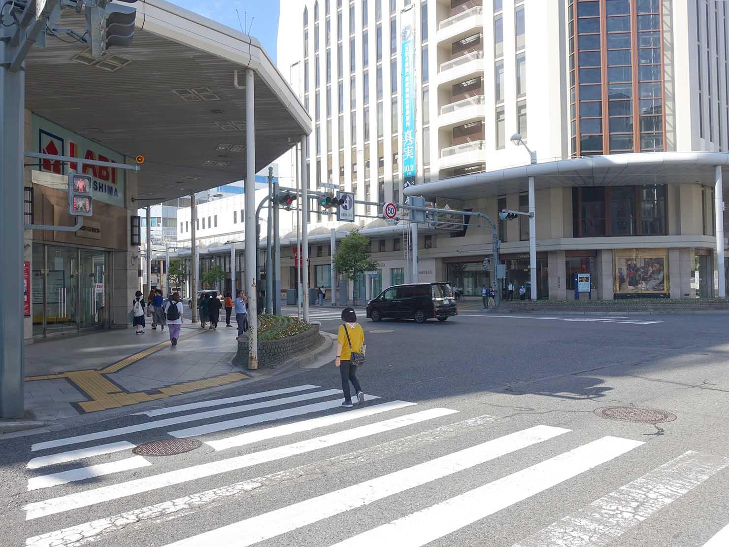 広島路面電車・八丁堀駅前の交差点