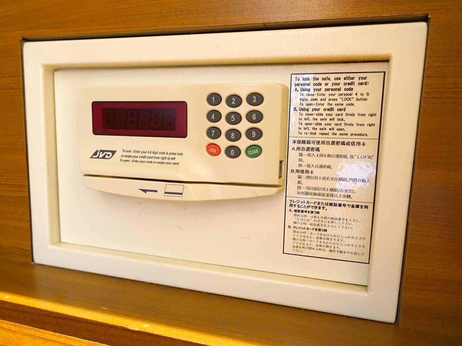 花蓮市街中心部にあるホテル「馥麗生活旅店 Quality Inn」スーペリアダブルのセキュリティボックス
