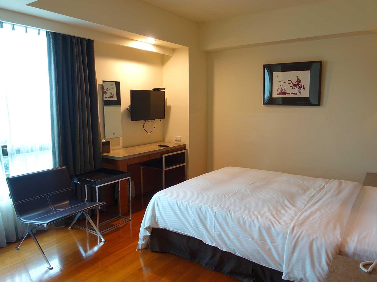 花蓮市街中心部にあるホテル「馥麗生活旅店 Quality Inn」入り口側から見るスーペリアダブル