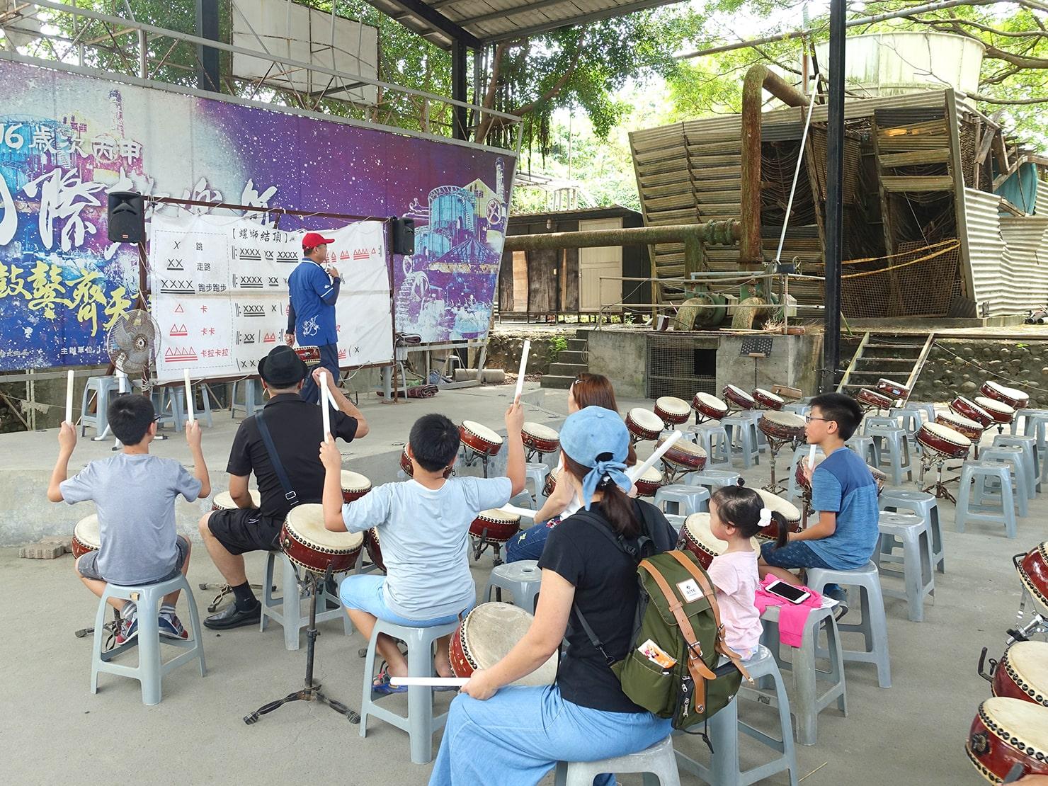 台南市街郊外のおすすめ観光スポット「十鼓仁糖文化園區」で太鼓演奏体験