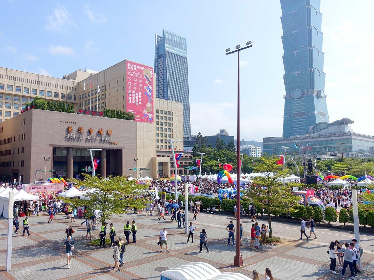 台灣同志遊行(台湾LGBTプライド)2019の会場となった市政府廣場