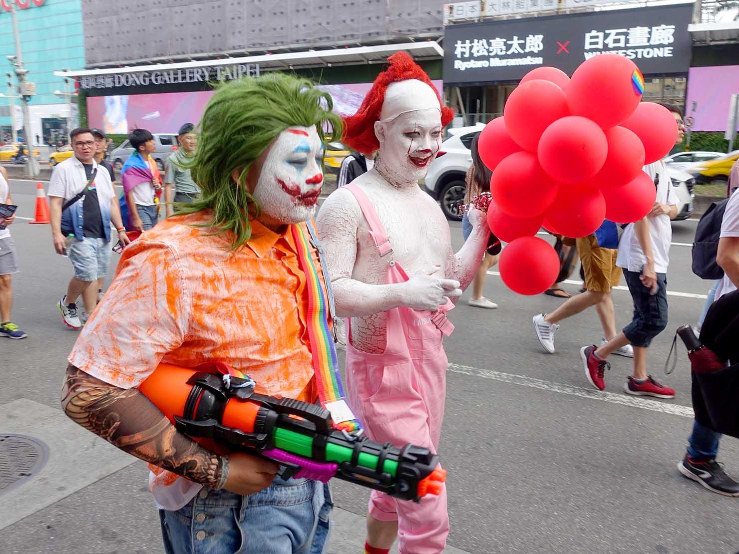 台灣同志遊行(台湾LGBTプライド)2019のパレードをピエロのコスプレで歩く参加者