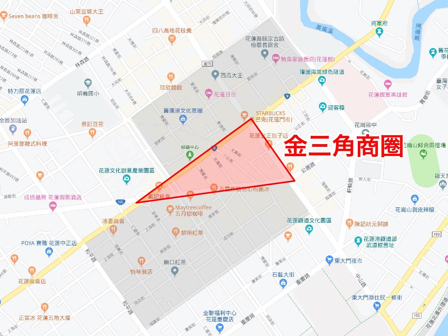 台湾・花蓮のおすすめ観光スポット「金三角商圈」のマップ