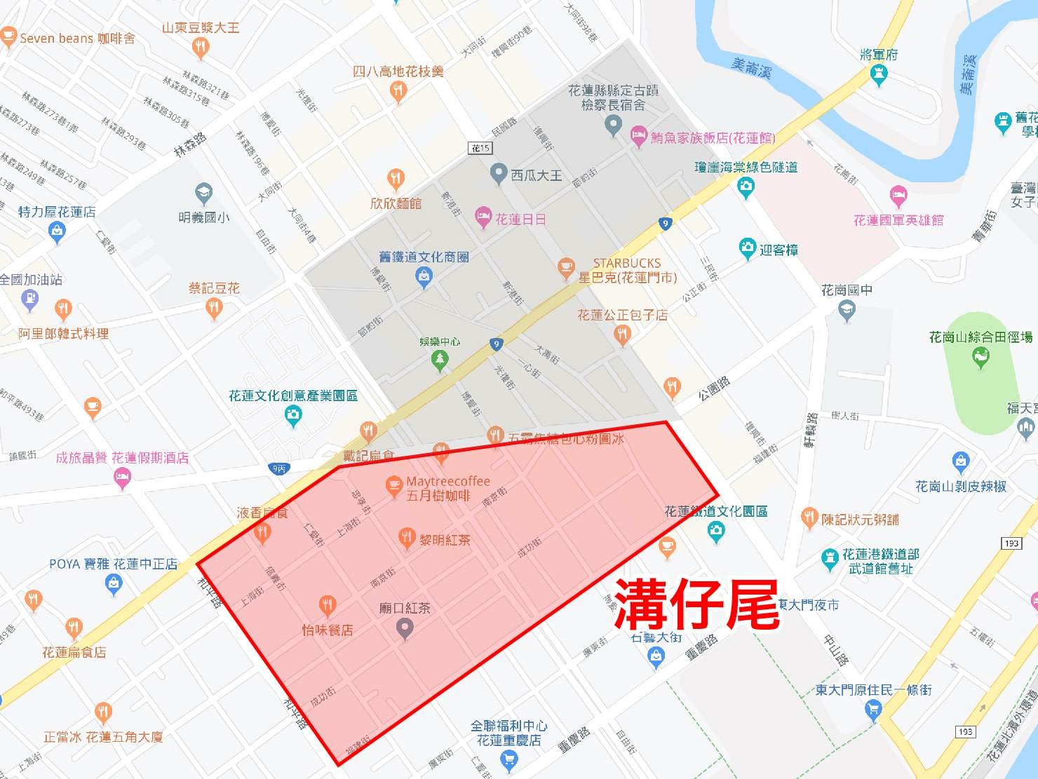 台湾・花蓮のおすすめ観光スポット「溝仔尾」のマップ