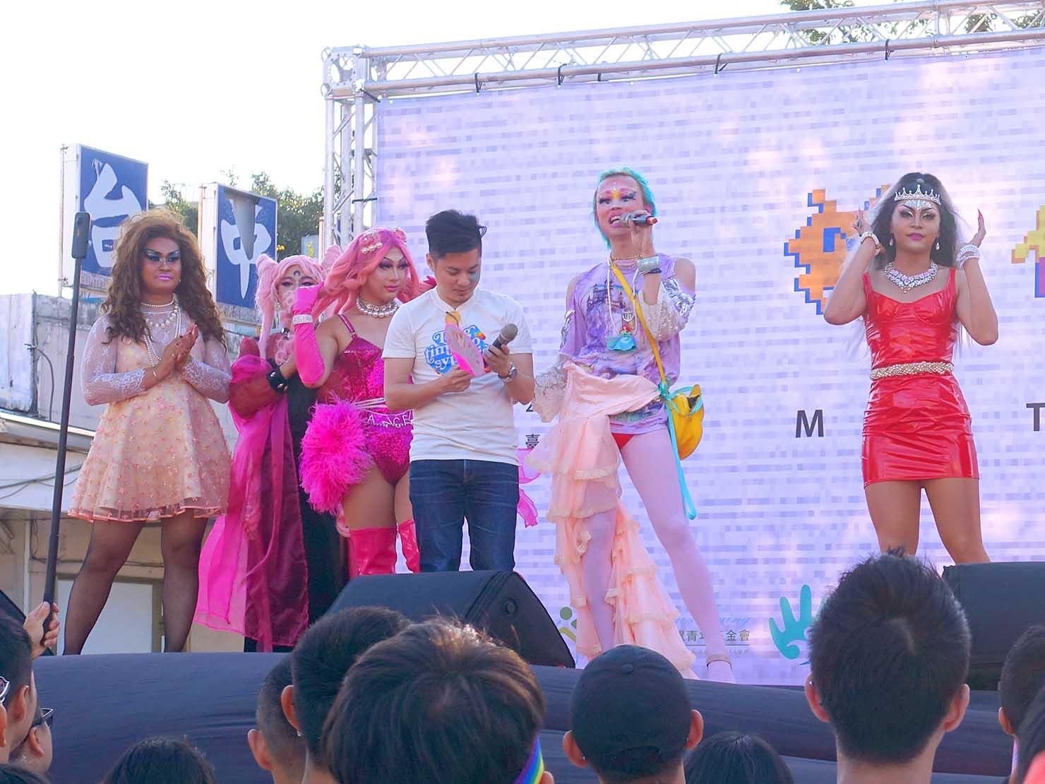 台中同志遊行(台中LGBTプライド)2019パレード後のステージに立つドラァグクイーンのみなさん