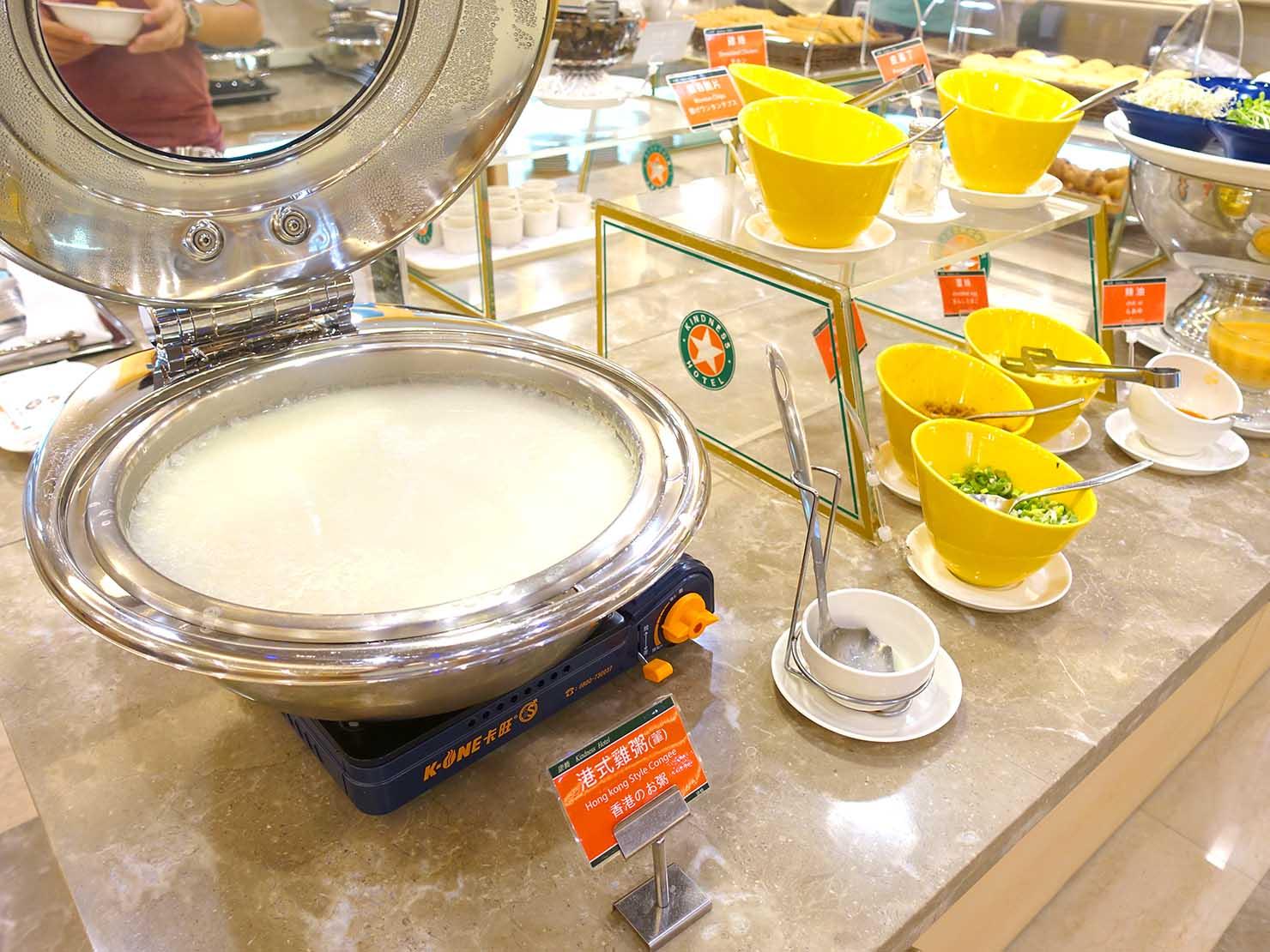 高雄のおすすめチェーンホテル「康橋商旅 Kindness Hotel(漢神館)」朝食ビュッフェのおかゆ