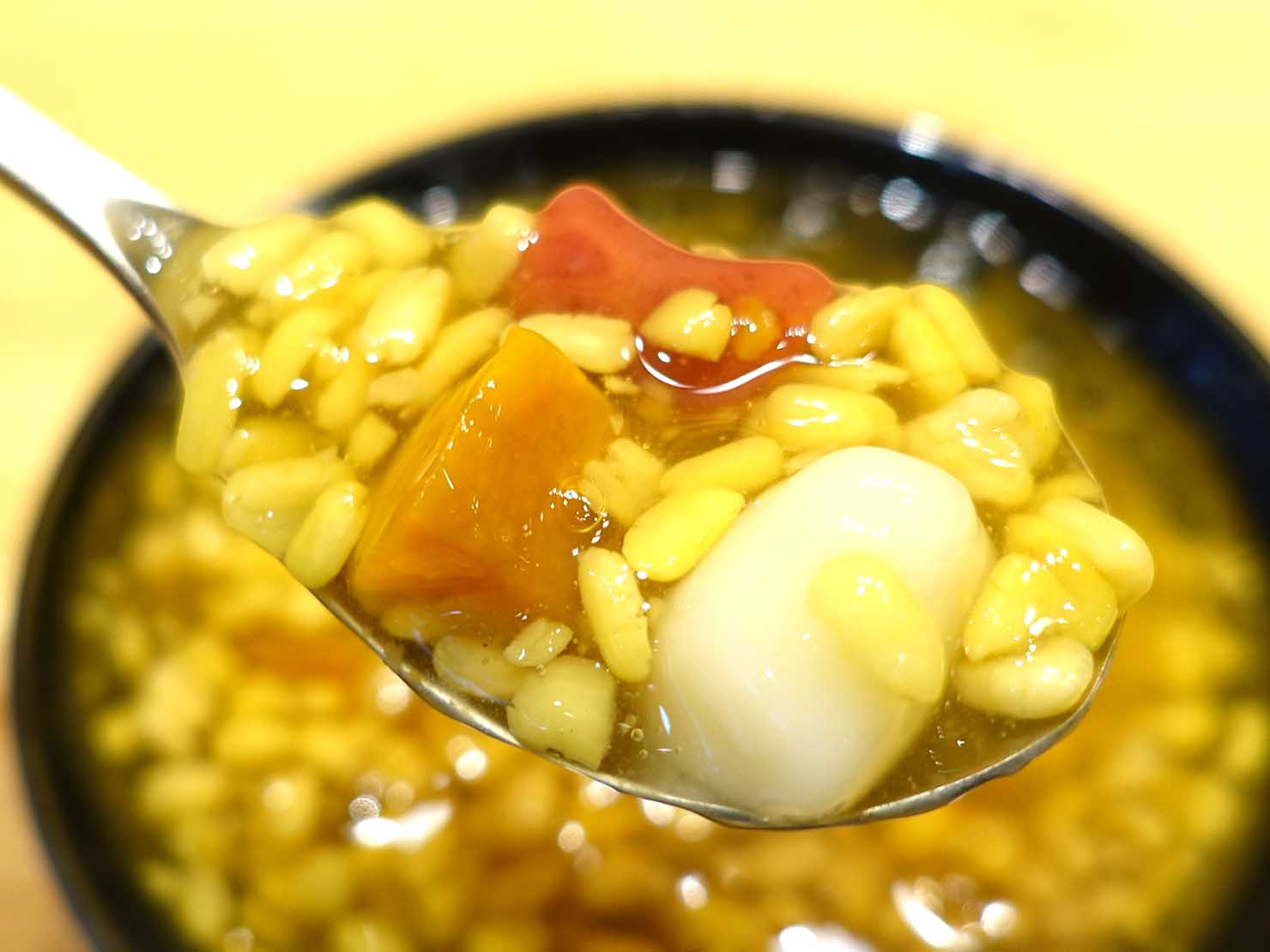 台北・松江南京駅(四平街商圈)周辺のおすすめグルメ店「綠豆蒜啥米」の綠豆蒜クローズアップ