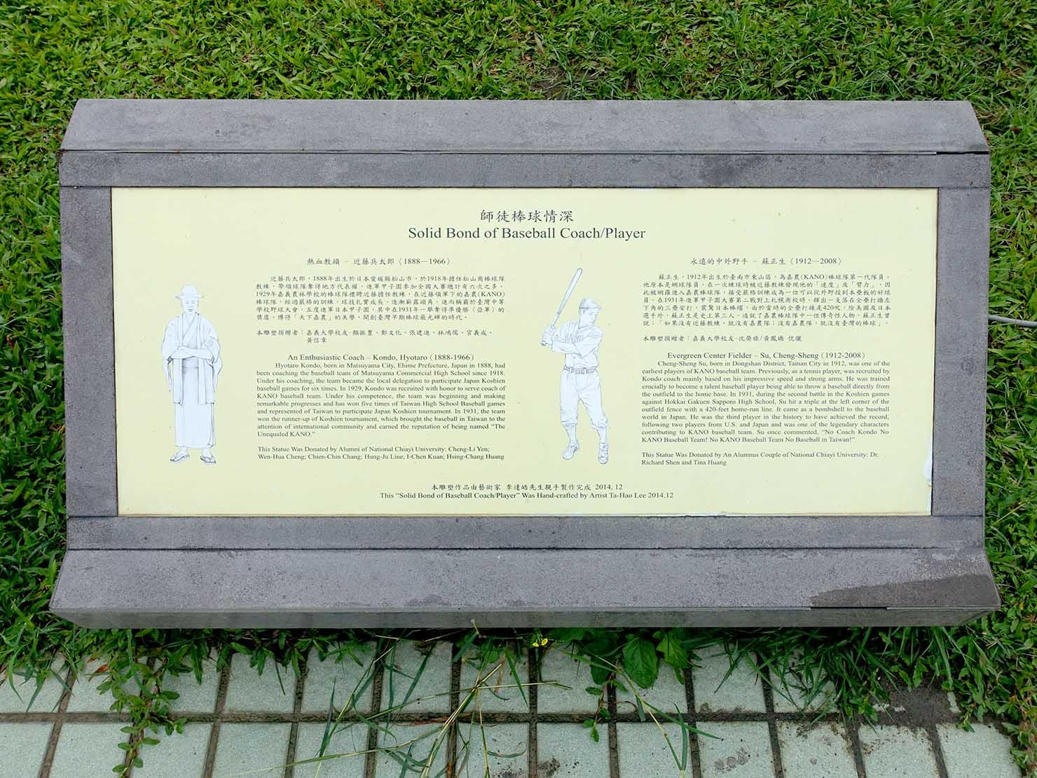 嘉義のおすすめ観光スポット「國立嘉義大學(蘭潭校區)」に置かれた先生と選手の銅像解説