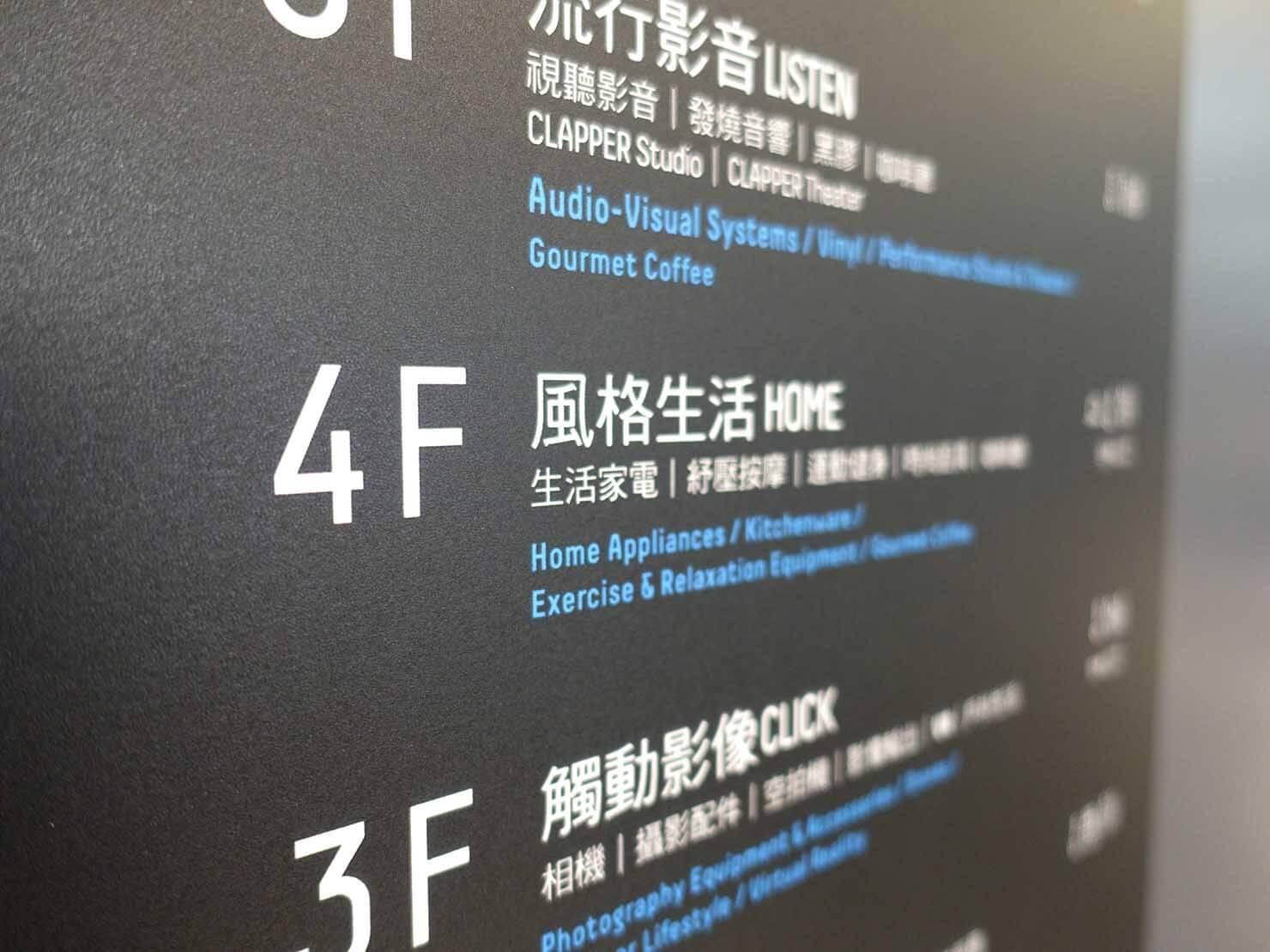 台北で生活家電を揃えたい時のおすすめ店「三創生活 SYNTREND」フロア案内