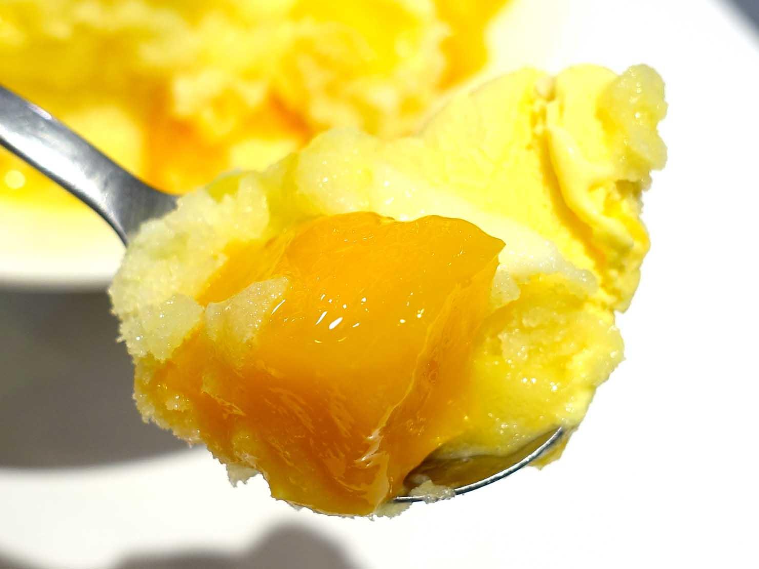 台北・西門町のおすすめひんやりスイーツ店「西門町芒果冰」のマンゴーかき氷・愛相隨クローズアップ