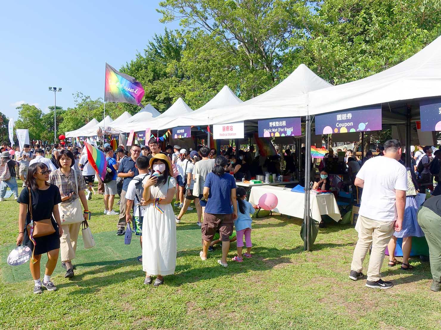 台湾・桃園のLGBTプライド「桃園彩虹野餐日」2020会場の特設ブース