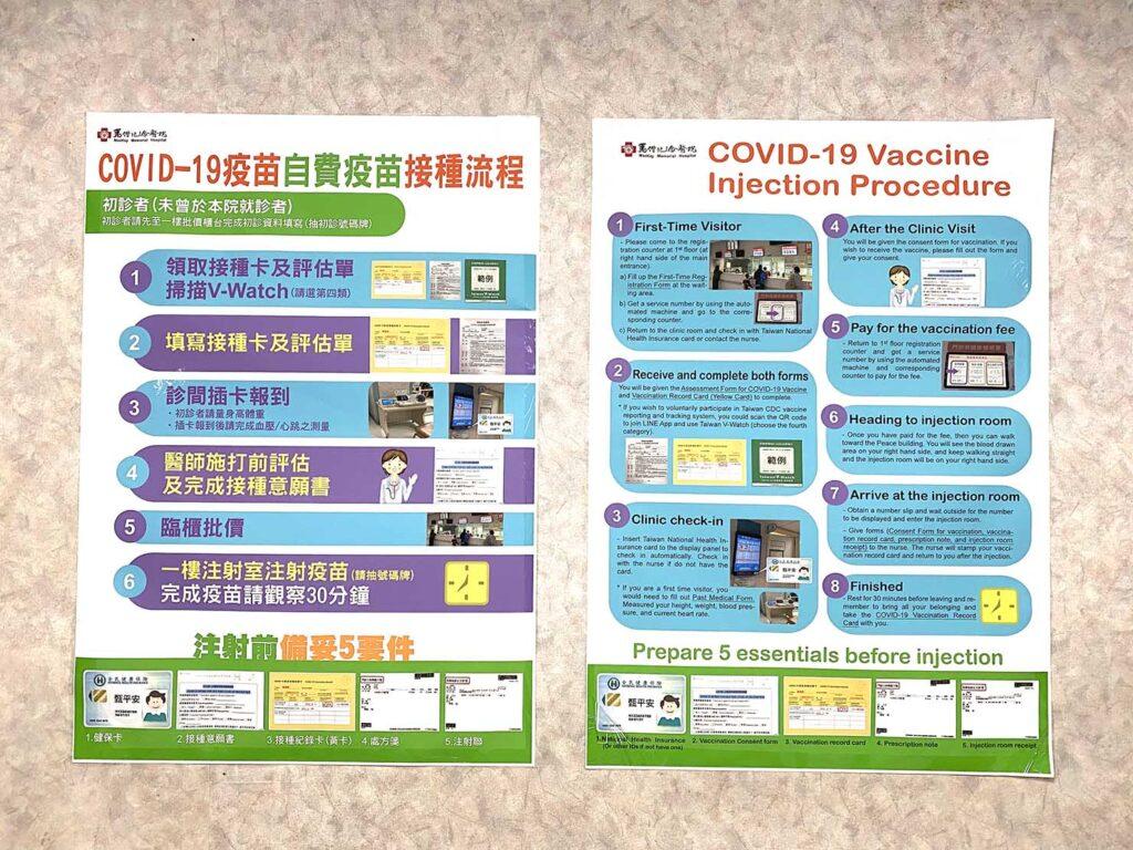 台北・馬偕紀念醫院のコロナワクチン接種の流れを説明するポスター