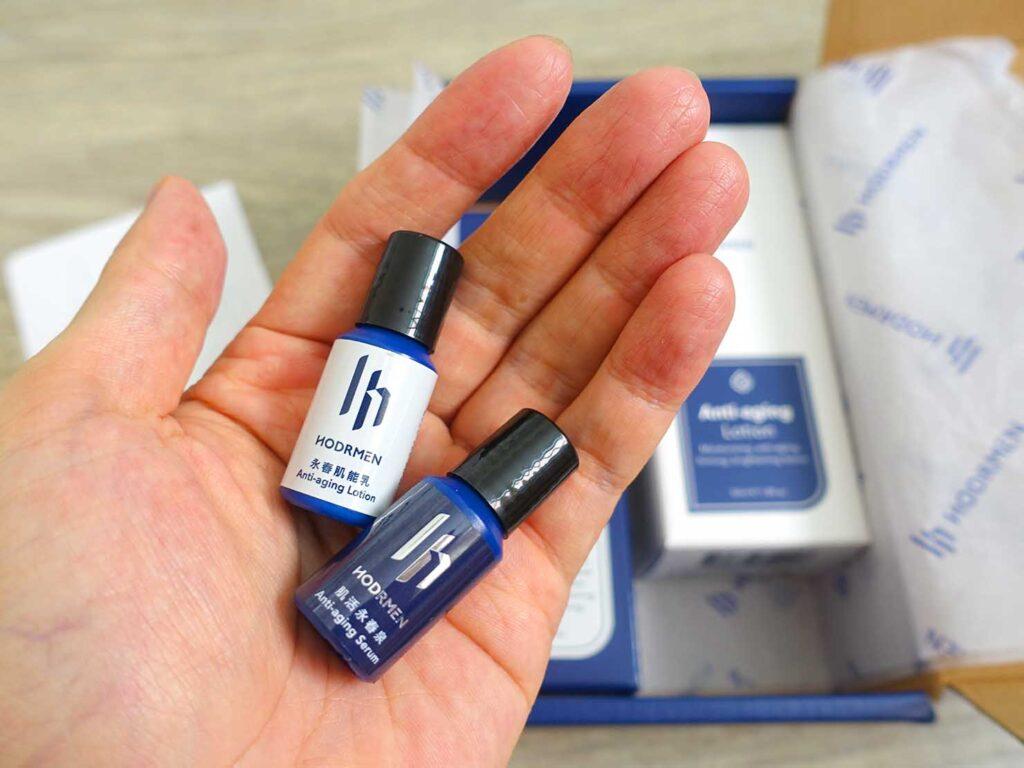 台湾生まれのLGBTフレンドリーなメンズコスメブランド「HODRMEN 男研堂」の箱にしたためられた試供品